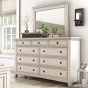 Homelegance 395 Dresser and Mirror Set - Item Number: 395B-5WH+6WH