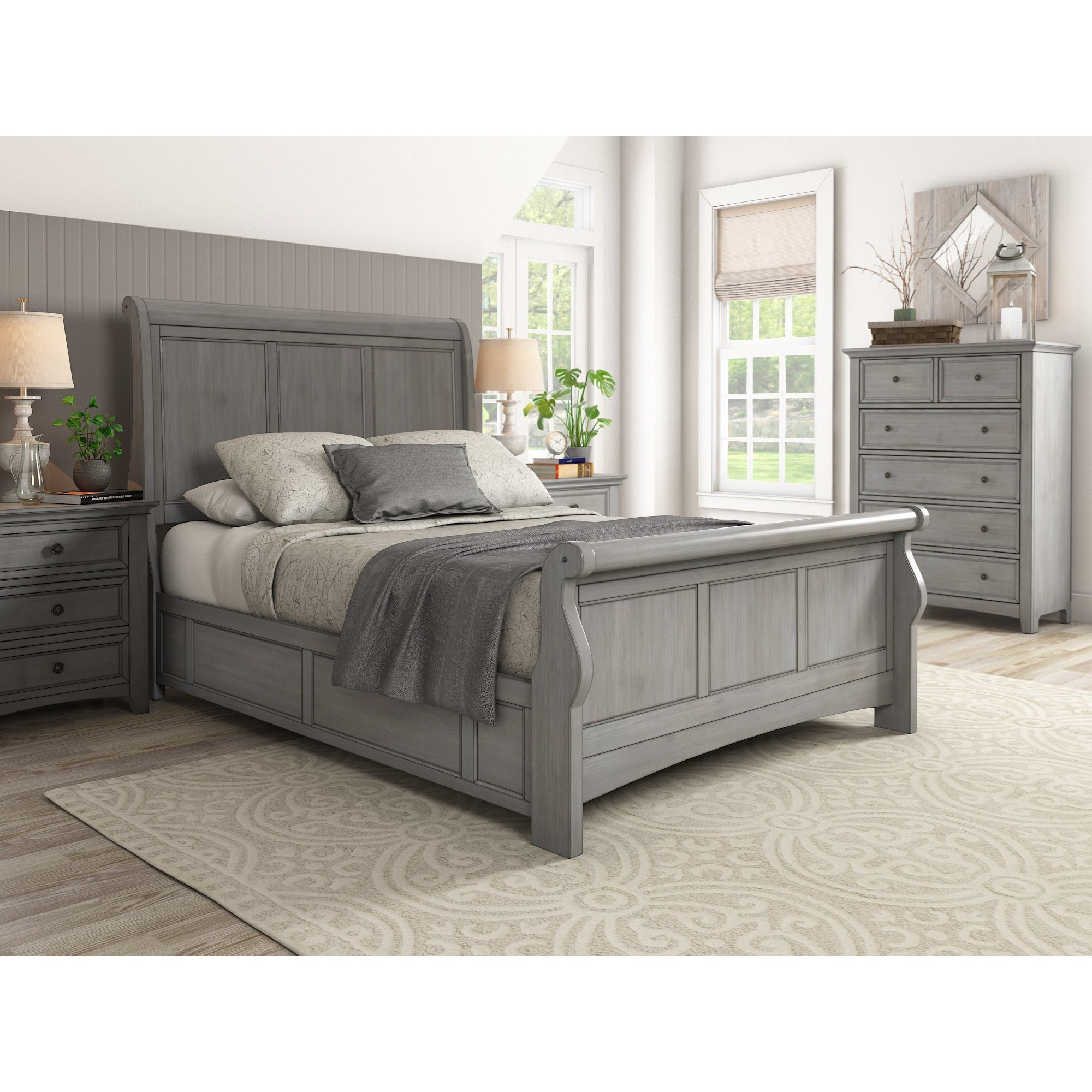 395 casual queen sleigh bed by homelegance
