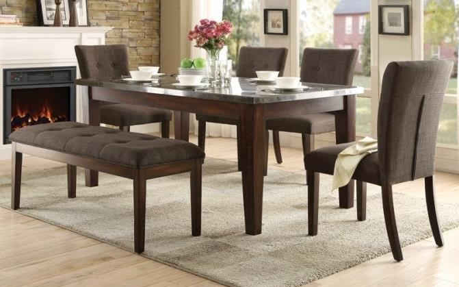 Homelegance Dorritt Dining Set with Bench - Item Number: 5281-64+4x5281S+13