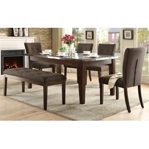 Homelegance Dorritt Upholstered Dining Set with Bench and Bluestone Table Top