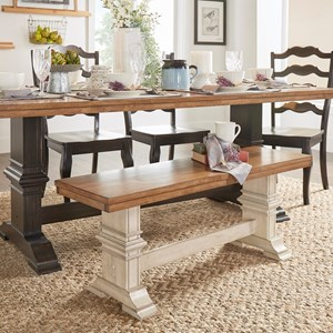 Homelegance 530 Dining Bench with Trestle Base