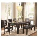 Homelegance Ameillia Table & 4 Chairs with Bench - Item Number: 586GY-82+4XGYS+40