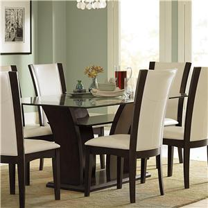 Homelegance 710 Trestle Glass Dining Table