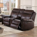 Homelegance 8206 Casual Reclining Loveseat with Console and Cupholders
