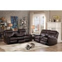 Homelegance 8206 Casual Reclining Sofa with Drop-Down Cupholders and Concealed Drawer