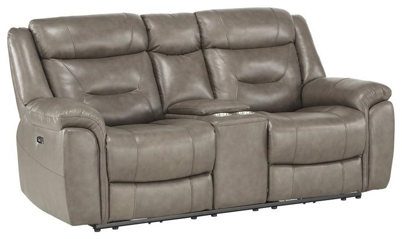 Albany PWR Reclining Leather Love w/ PWR Headrest  at Walker's Furniture