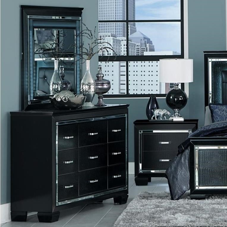 Homelegance Allura Dresser and Mirror Set - Item Number: 1916BK-5+6