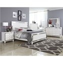 Homelegance Alonza Glam Nightstand with Mirrored Inlays and Embossed Alligator Panels
