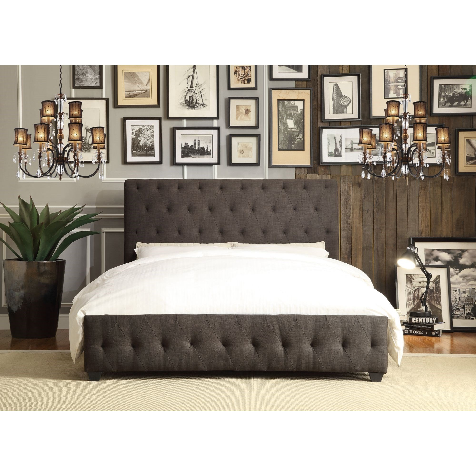 Homelegance Baldwyn Contemporary Full Upholstered Platform Bed - Item Number: 5789FN-1+3