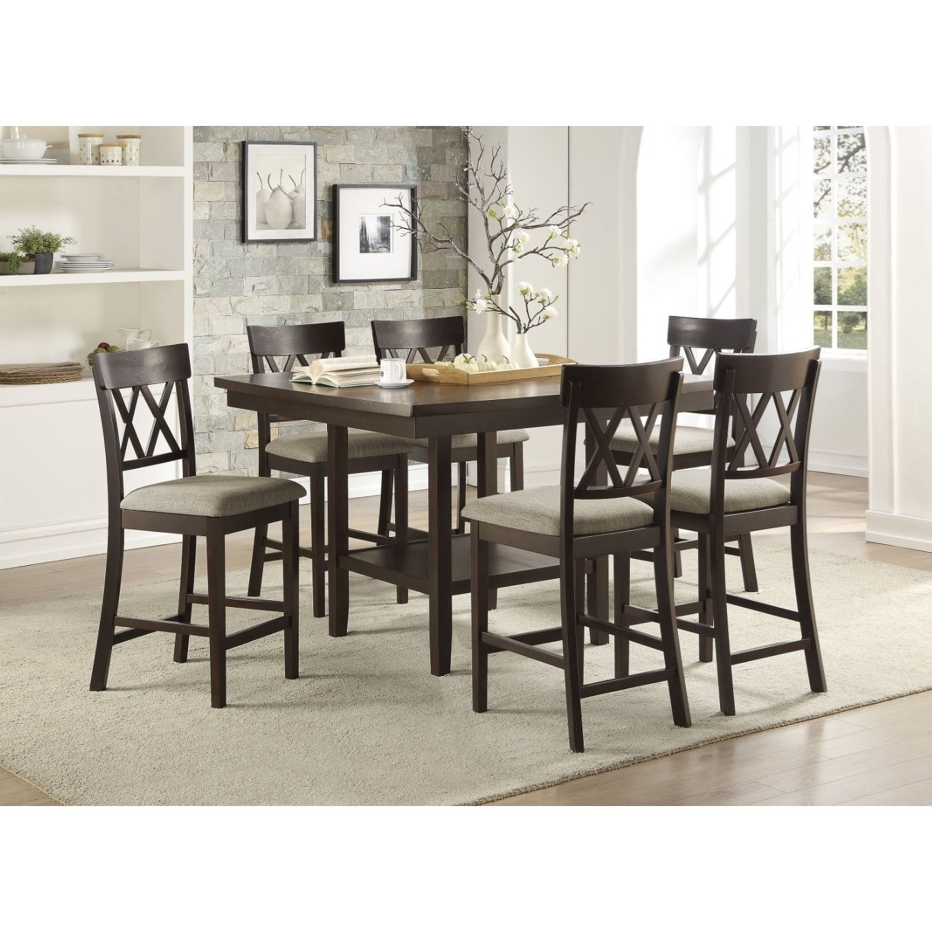 Balin 7-Piece Counter Height Table and Chair Set by Homelegance at Value City Furniture