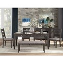 Homelegance Baresford 6-Piece Table and Chair Set with Bench - Item Number: 5674-72+4xS+13