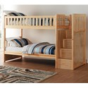 Home Style Natural Twin Over Twin Bunk Bed w/ Stair Storage - Item Number: B2043SB-1+2+3+SL
