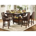 Homelegance Bayshore Fabric Counter Height Table and Chair Set - Item Number: 5447-36XL+36XLB+6x24FAS