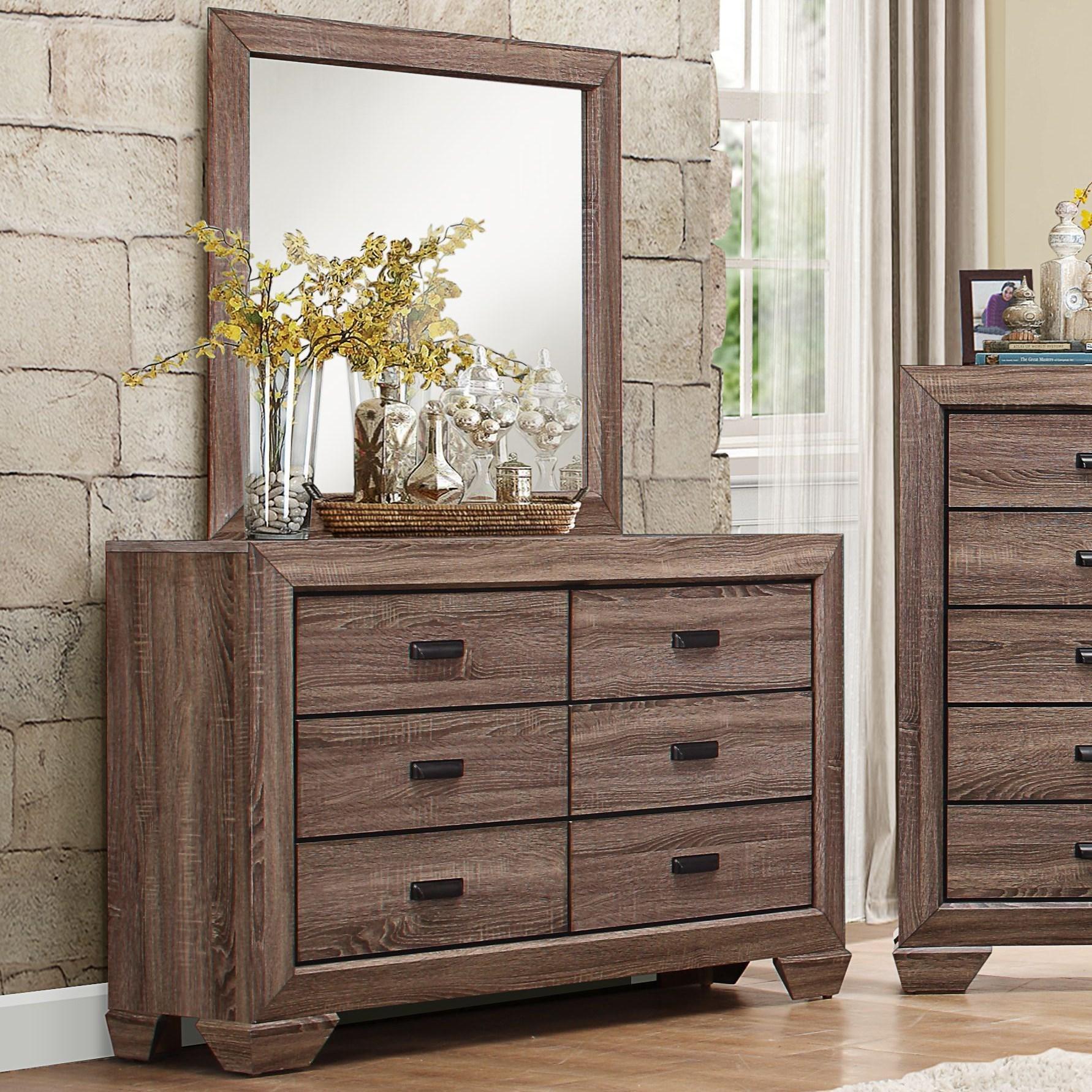 Modern 6-Drawer Dresser and Mirror