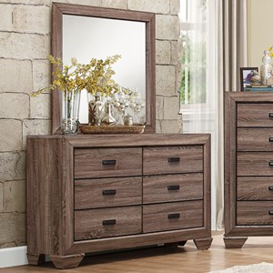 Homelegance Beechnut Modern 6-Drawer Dresser and Mirror