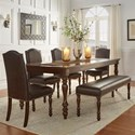 Homelegance Benwick Dining Table and Chair Set with Bench - Item Number: 5425AK-90+4xS-PU+13PU