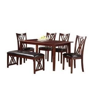 Homelegance Brooksville 6 Piece Dining Set with Bench