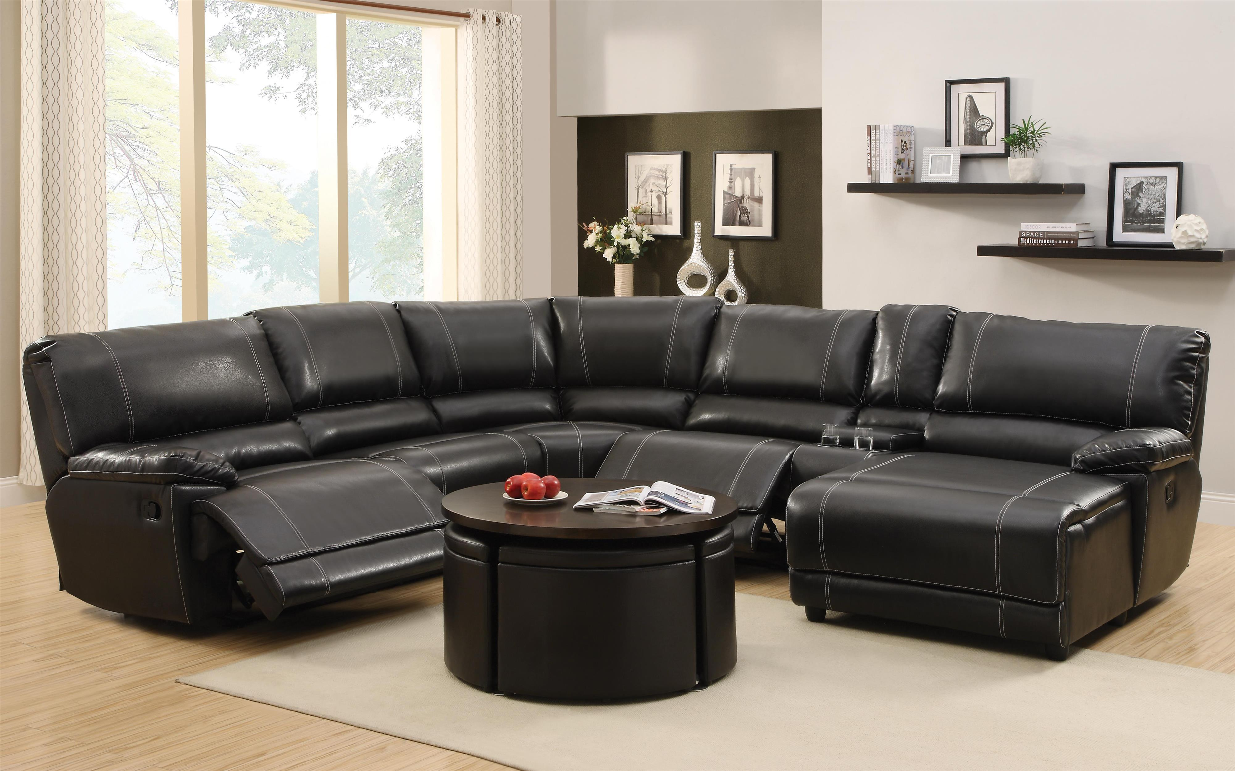 Homelegance Cale Reclining Sectional - Item Number: 9608-LL+CR+AR+CN+RC