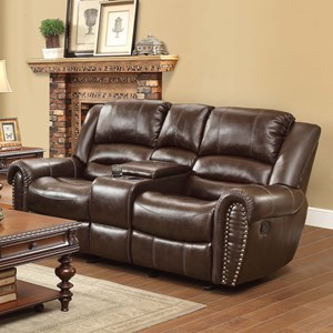 Homelegance Center Hill Reclining Loveseat with Console