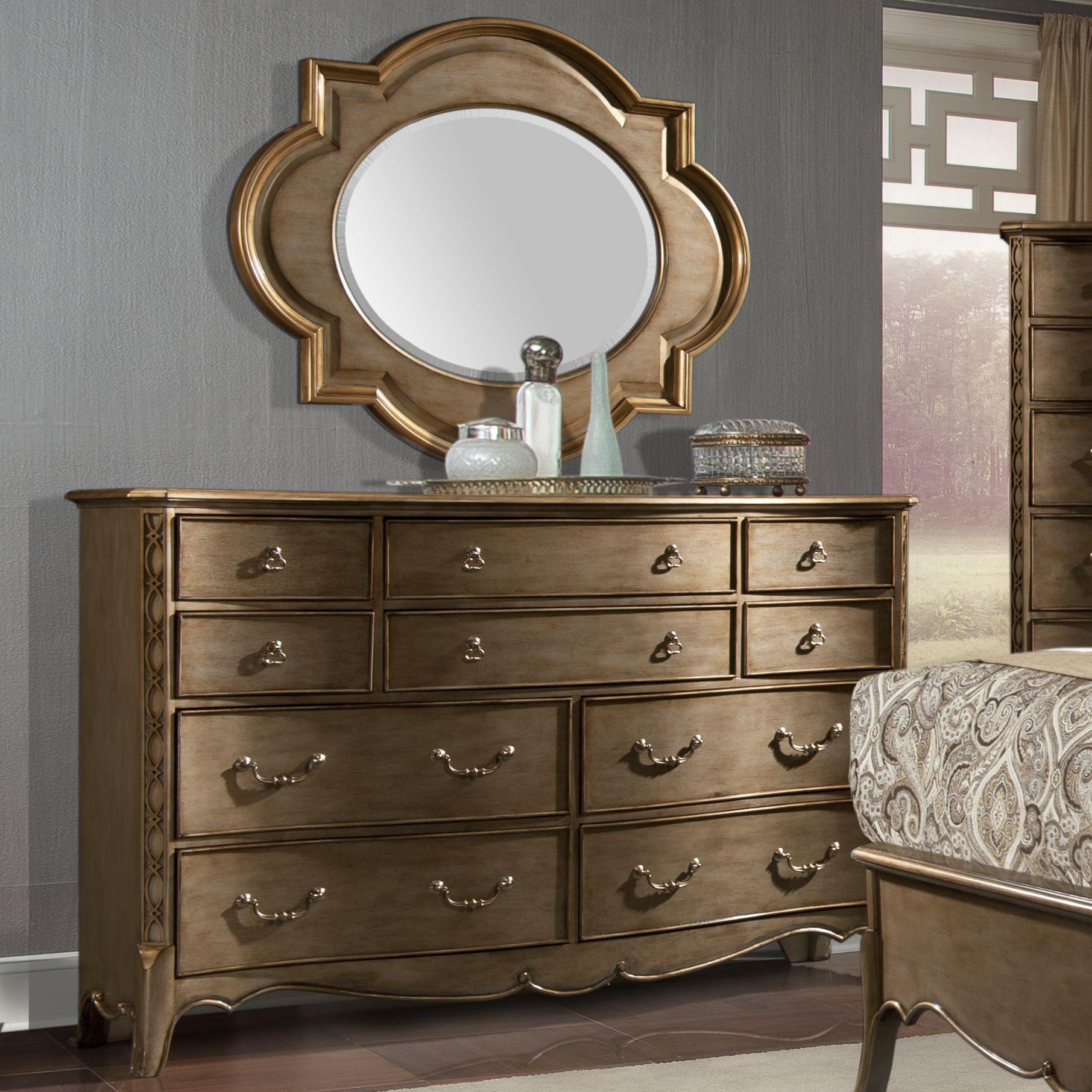 Homelegance Chambord Dresser and Mirror Set - Item Number: 1828-5+6