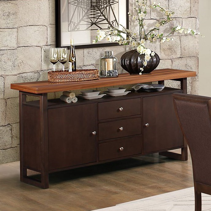 Homelegance Compson Contemporary Dining Server With Two Tone Finish Wayside Furniture Servers