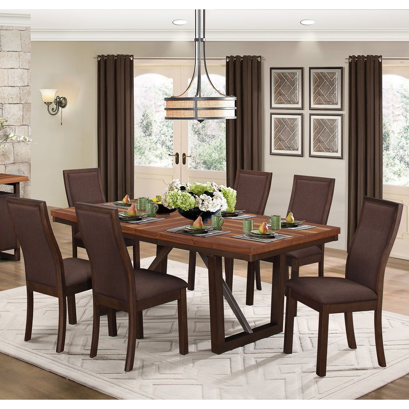 Compson Table and 4 Chair Set by Homelegance at Beck's Furniture