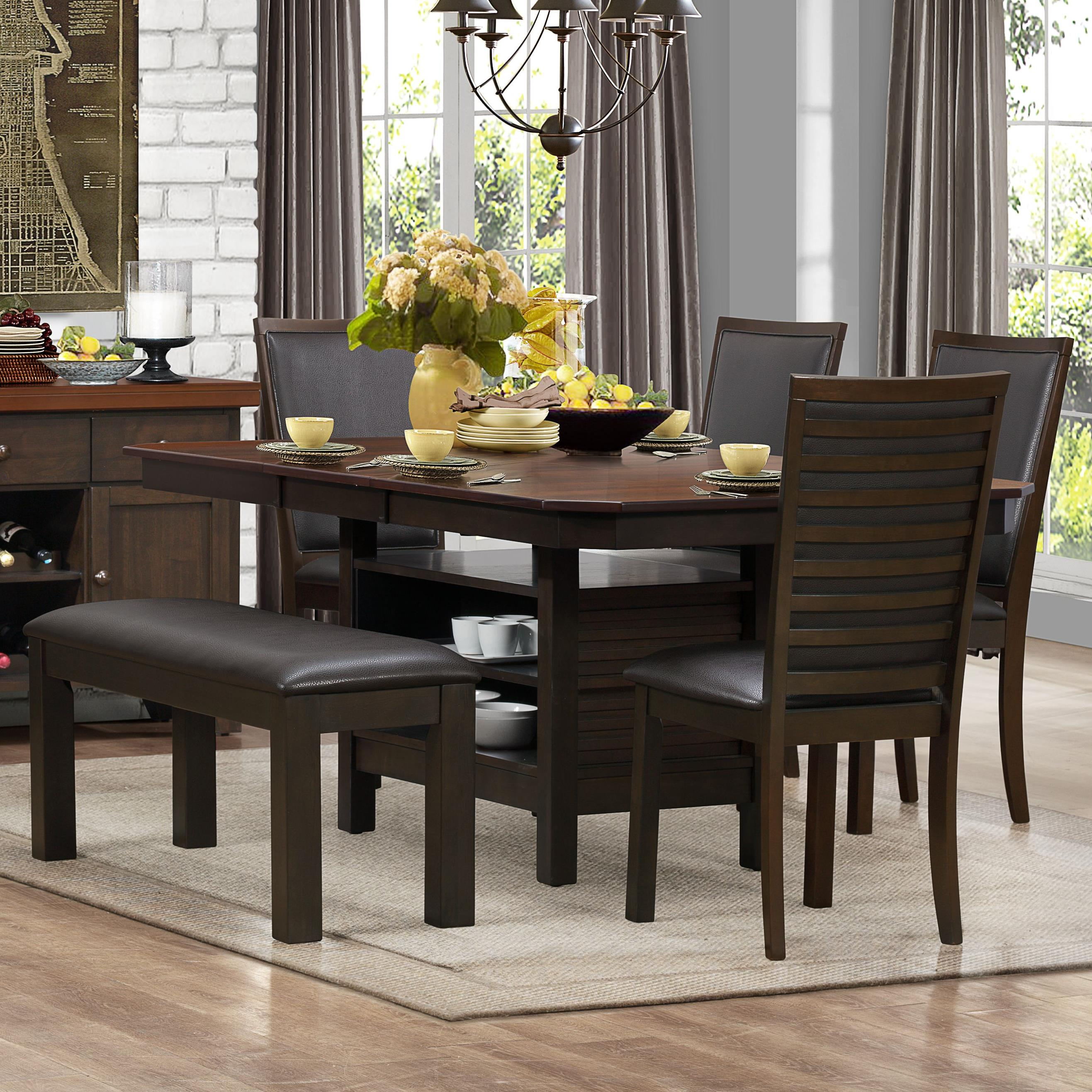 Homelegance Corliss Dining Table & Chair Set with Bench - Item Number: 5136-78B+78+4xS+13