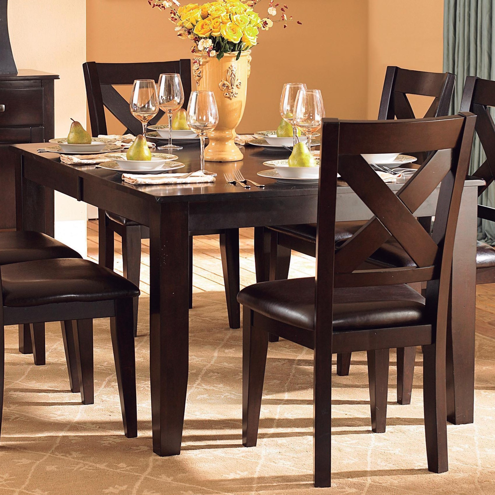 Dining Room Table With Leaf: Homelegance Crown Point Transitional Dining Table With 18