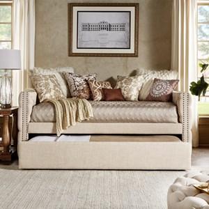 Beige Linen Upholstered Daybed