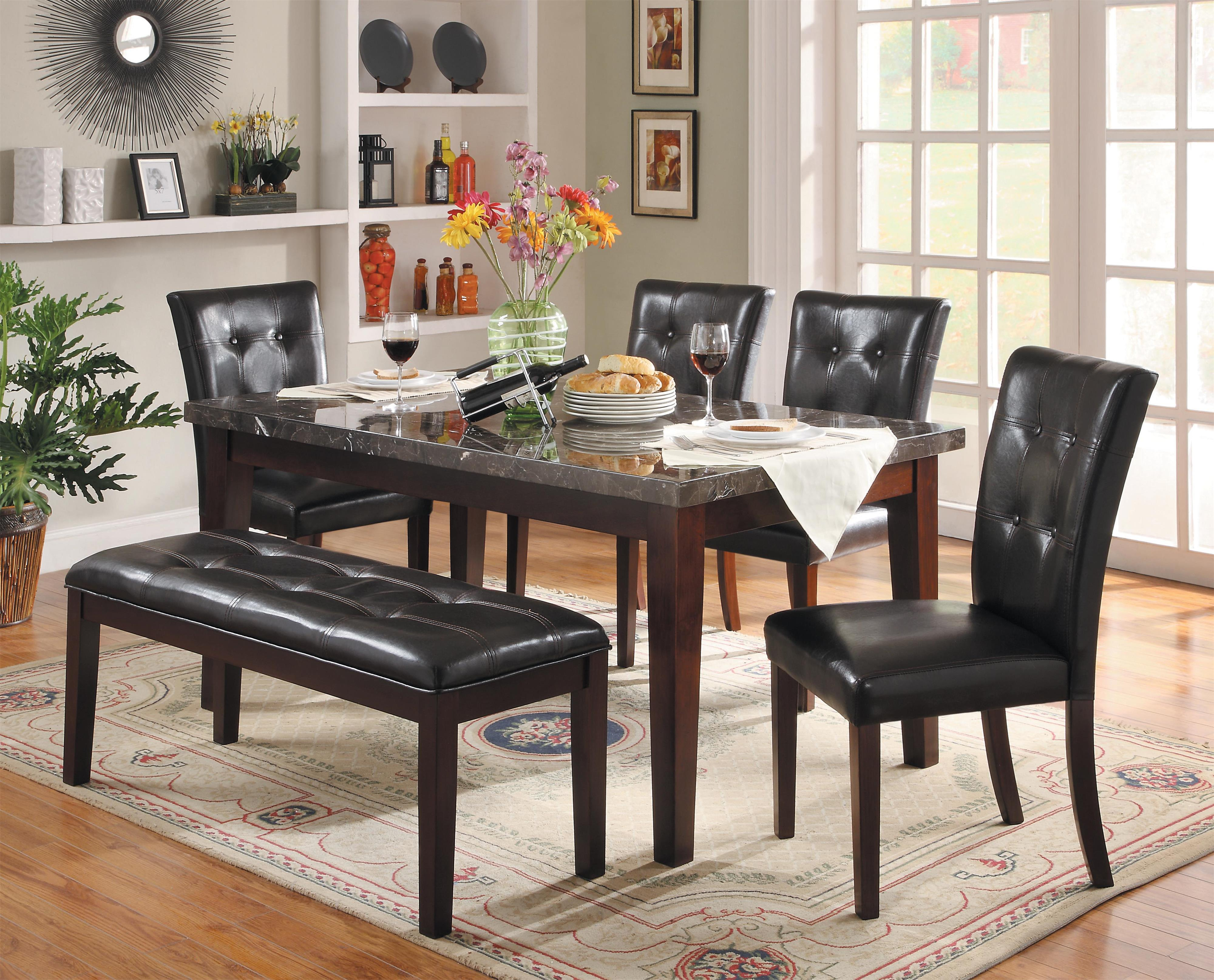 Homelegance Decatur 6 Piece Dining Set with Bench - Item Number: 2456-64+4xS+13