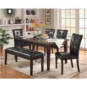 Decatur 6 Piece Dining Set with Marble Tabletop and Upholstered Dining Bench by Homelegance