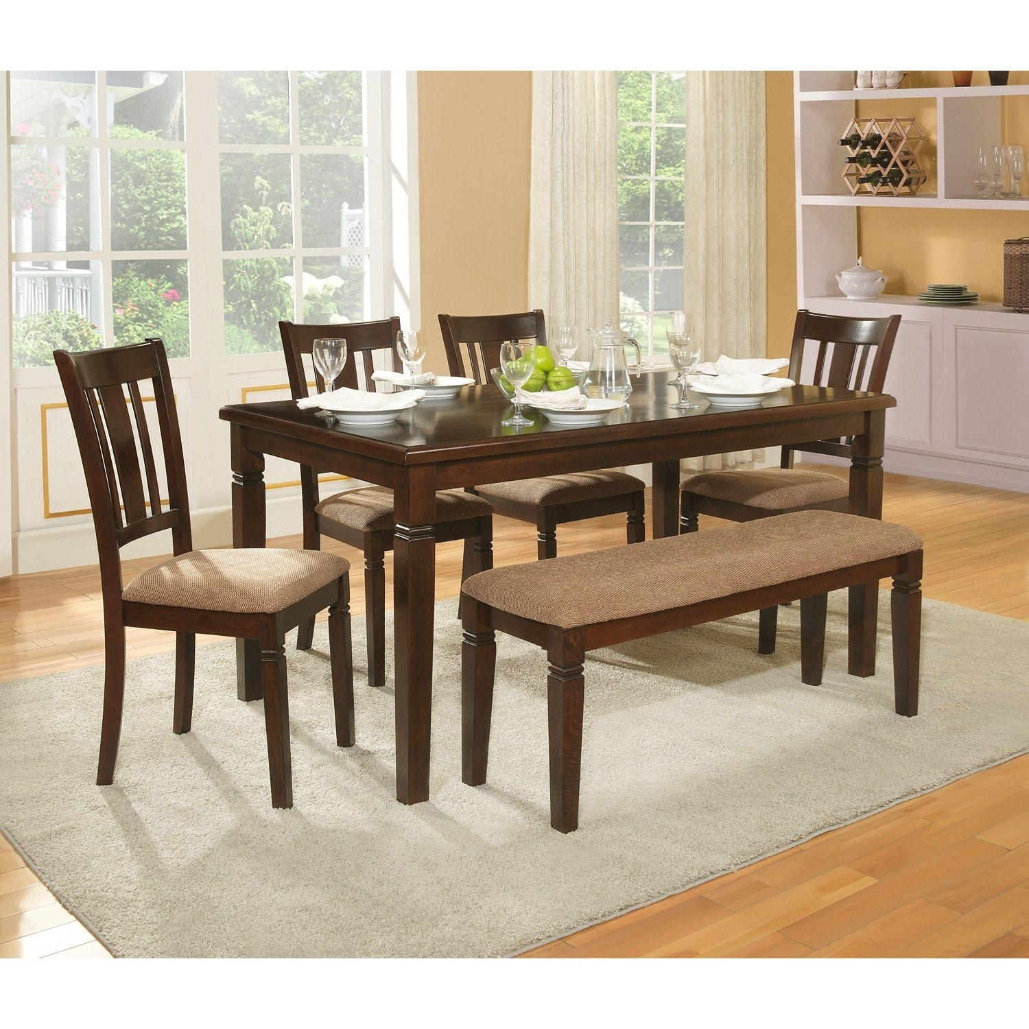 Devlin Table and Chair Set with Bench by Homelegance at Simply Home by Lindy's