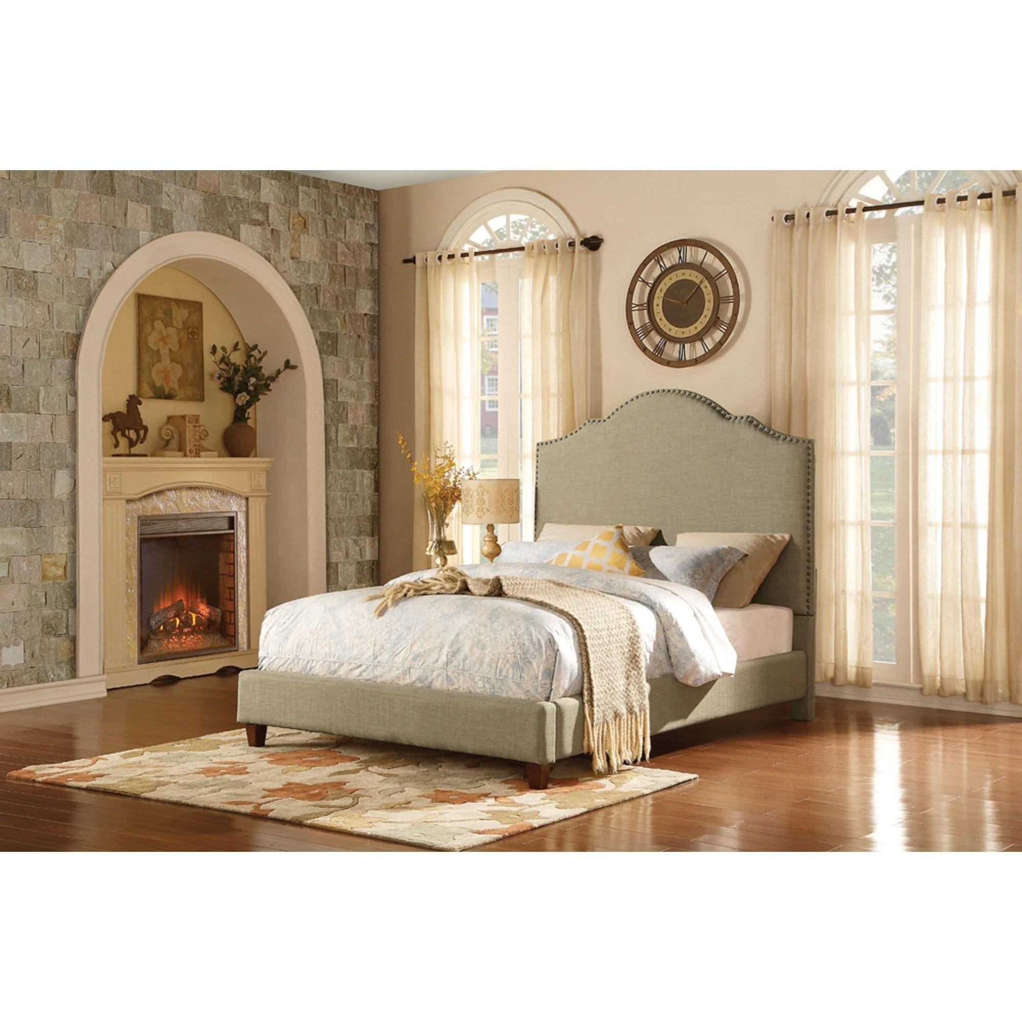 Homelegance Ember Contemporary Queen Upholstered Platform Bed - Item Number: 5797N-1+3