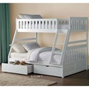 Homelegance Galen Twin Over Full Bunk Bed with Storage - Item Number: B2053TFW-1+2+SL+T