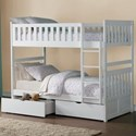 Homelegance Galen Twin Over Twin Bunk Bed with Storage - Item Number: B2053W-1+2+SL+T
