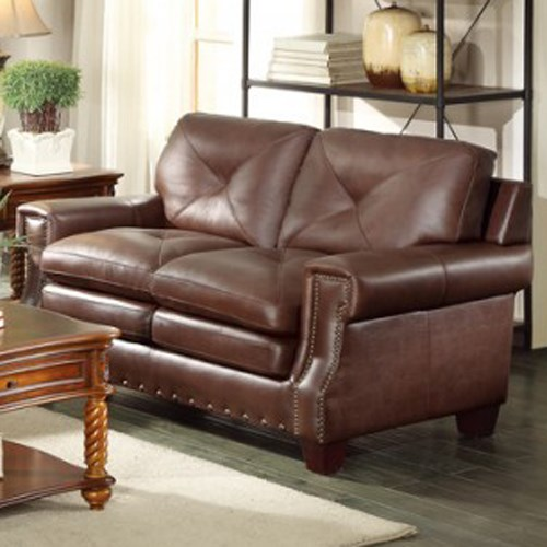 Homelegance Greermont Traditional Leather Loveseat - Item Number: 8446-2