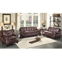 Homelegance Greermont Traditional Leather Loveseat with Nailhead Trim