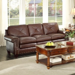 Homelegance Greermont Traditional Leather Sofa