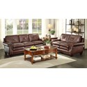 Homelegance Greermont Traditional Leather Sofa with Nailhead Trim