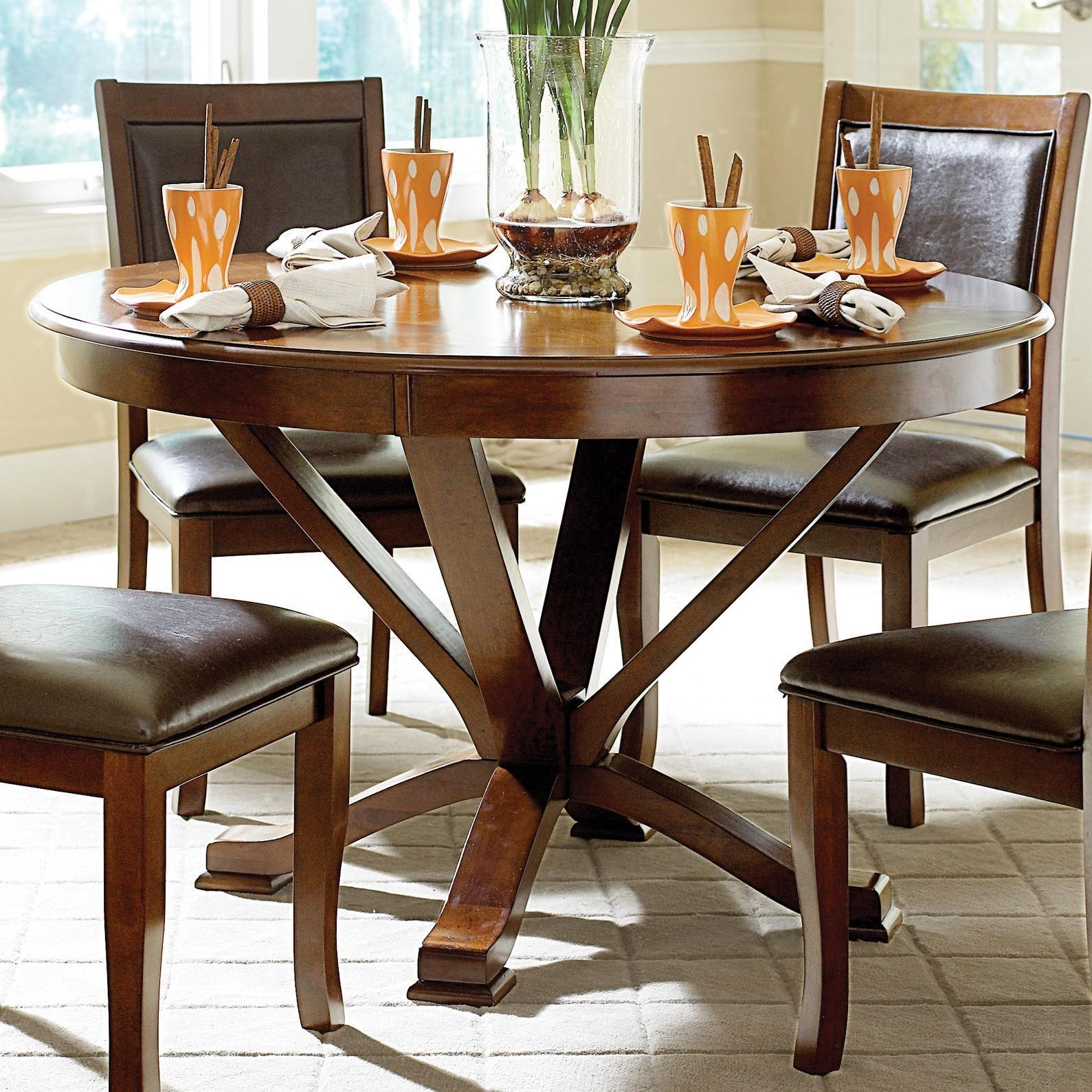 Round Kitchen Tables: Homelegance Helena Transitional Round Kitchen Table With