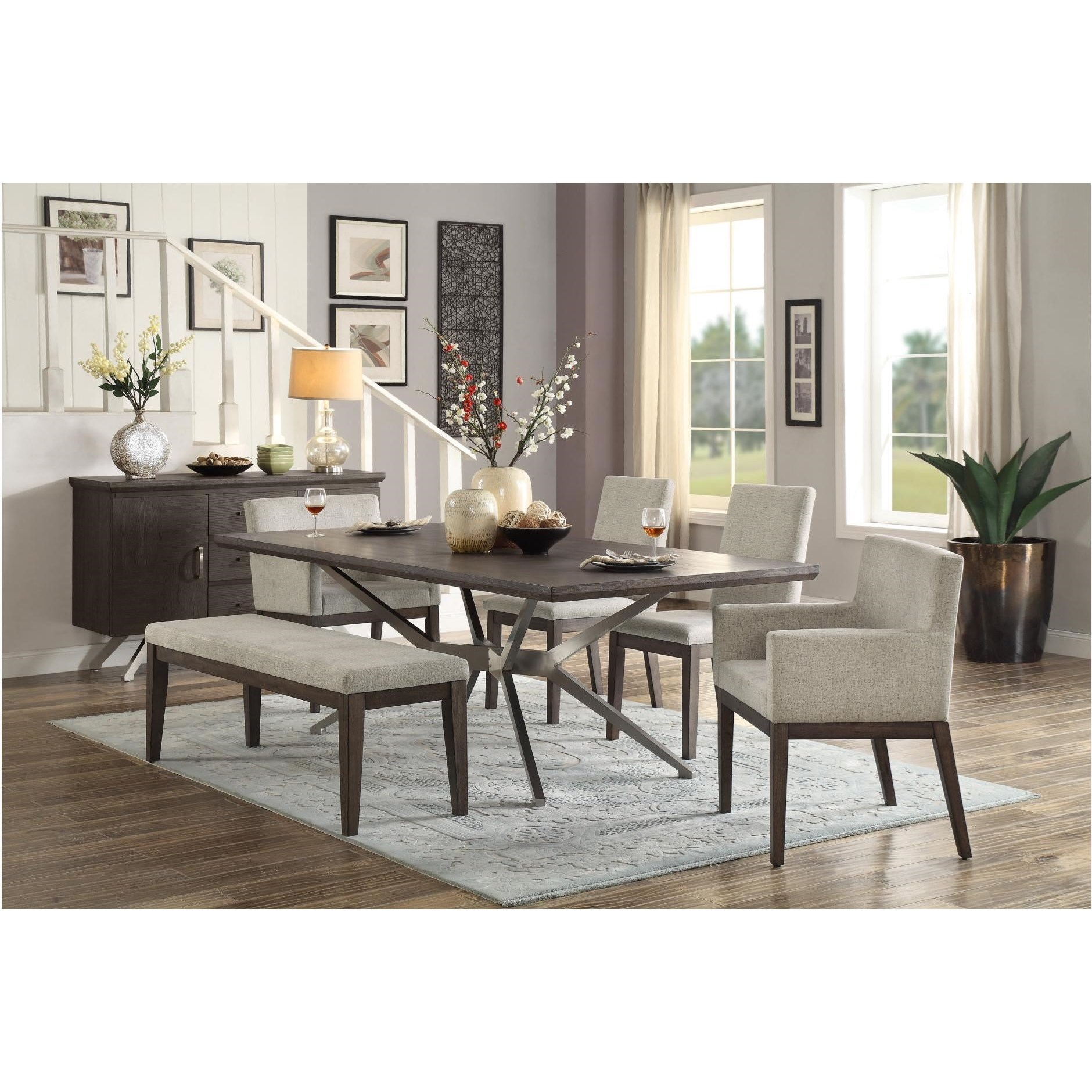 Contemporary 6 Piece Dining Room Table Set With Bench By: Homelegance Ibiza Mid-Century Modern 6 Piece Dining Set