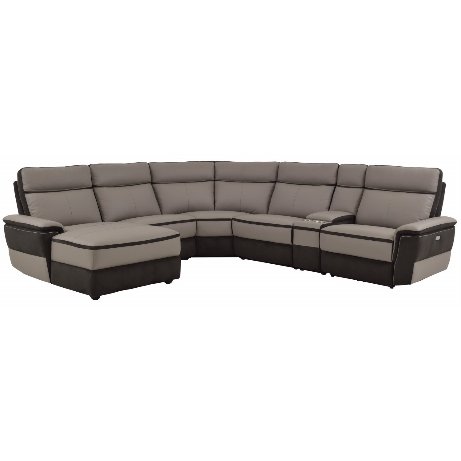 Homelegance Laertes Contemporary Power Reclining Sectional - Item Number: 8318-5L+AC+CR+AC+CN+RRPW