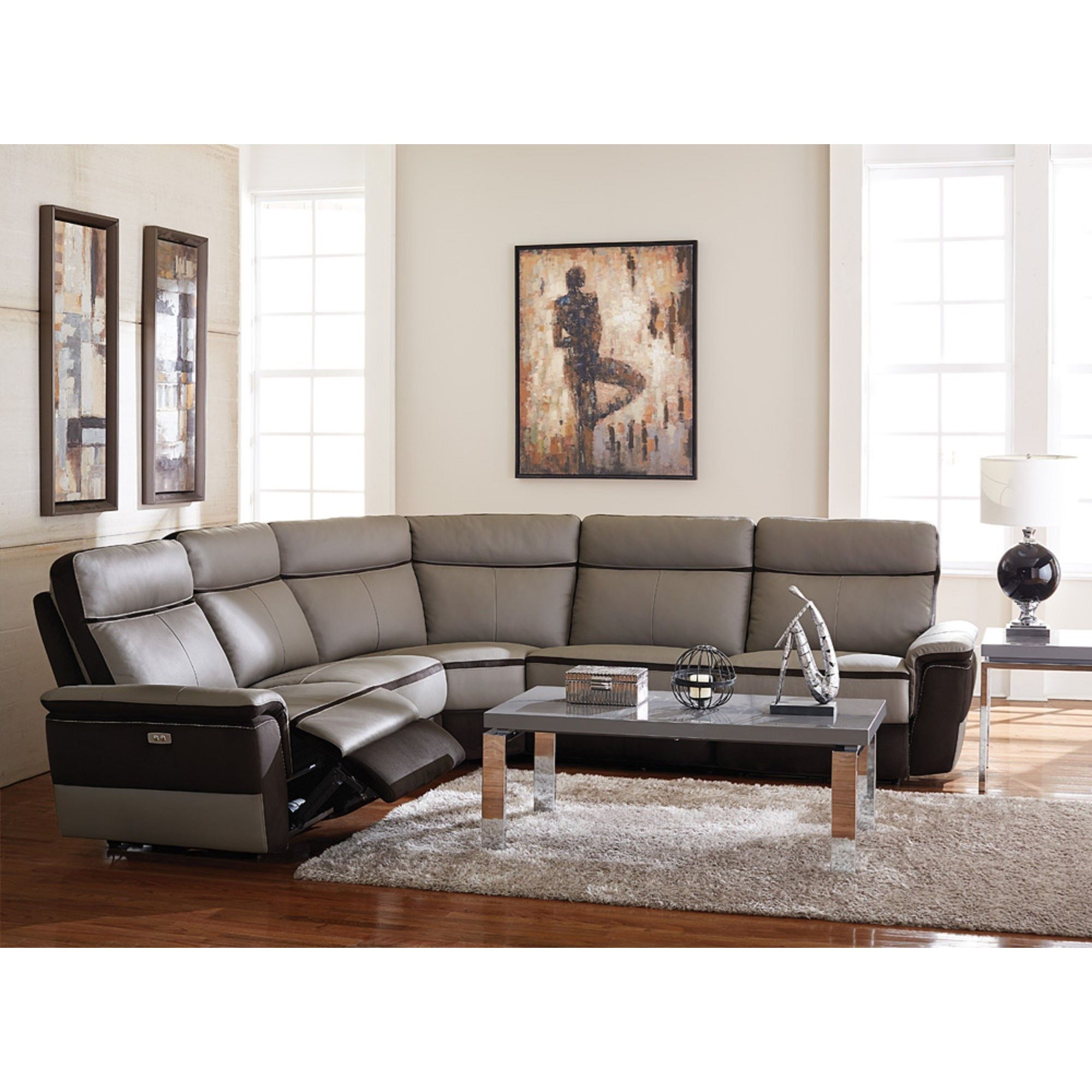 Contemporary Sectional: Homelegance Laertes Contemporary Power Reclining Sectional