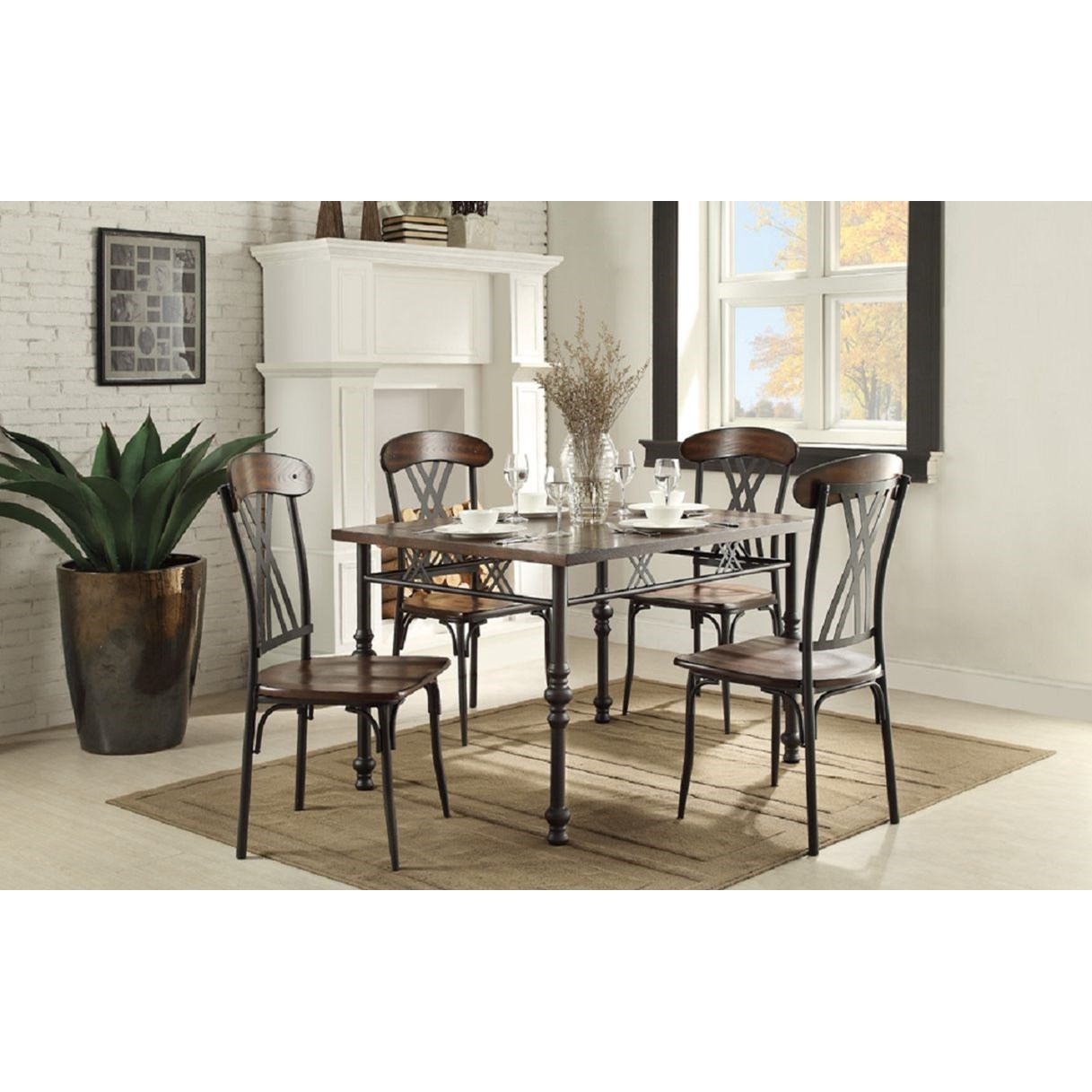 Homelegance Loyalton Transitional Kitchen Table And Chair Set Simply Home By Lindy S Dining 5 Piece Sets