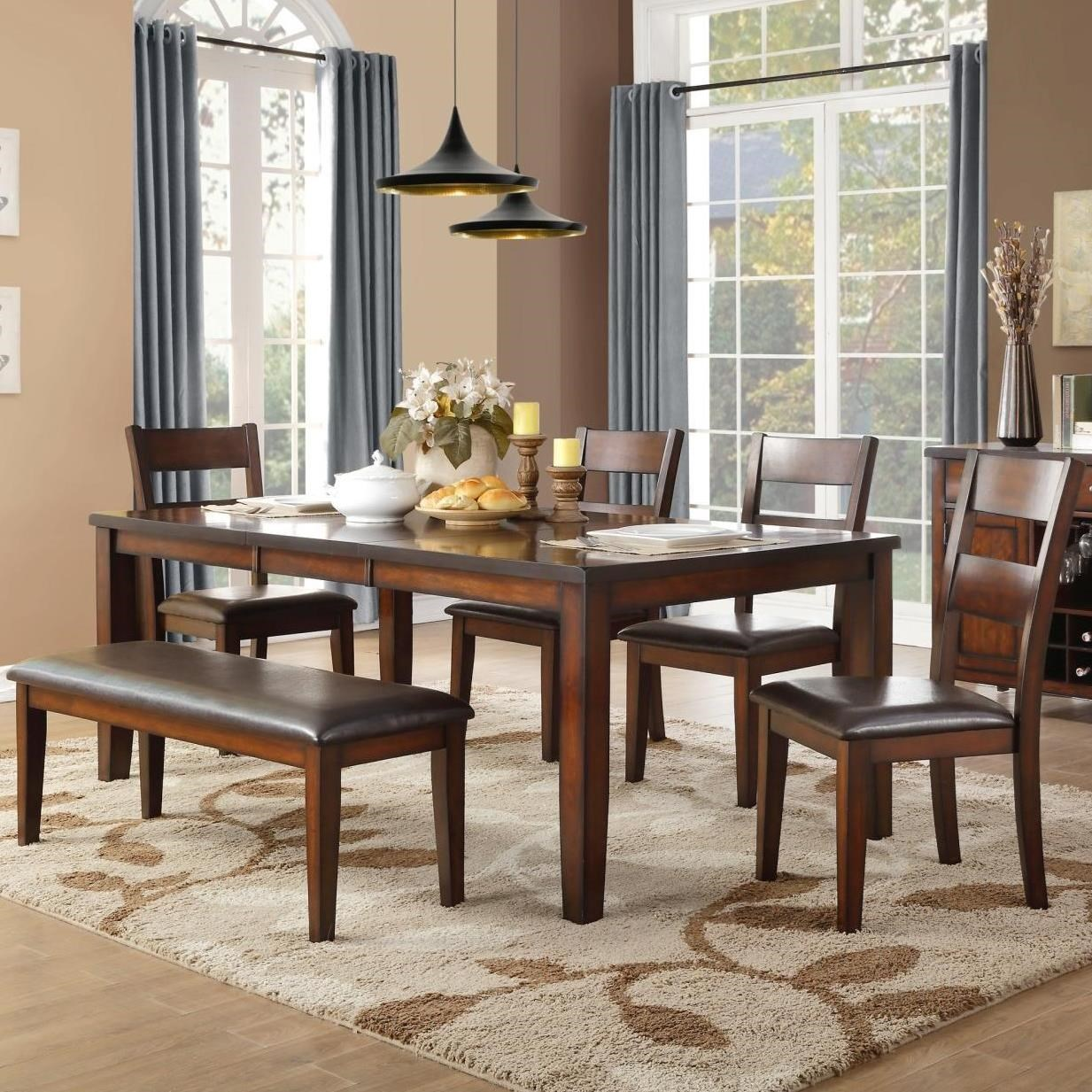 Mantello Table & Chair Set with Bench by Homelegance at Beck's Furniture