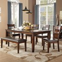 Homelegance Mantello Table & Chair Set with Bench - Item Number: 5547-78+13+4xS