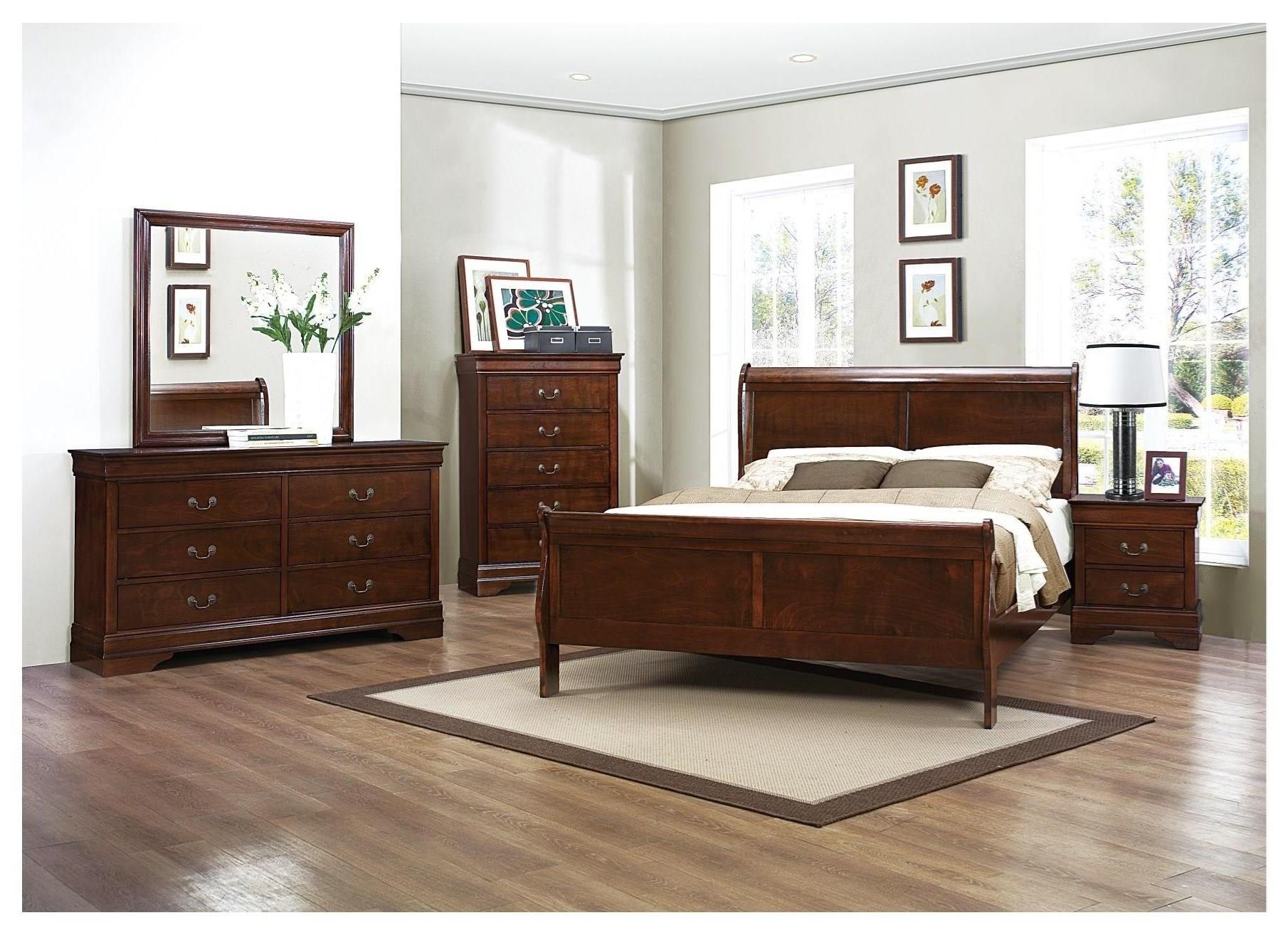 Queen Sleigh Bed, Dresser, Mirror & Nightsta