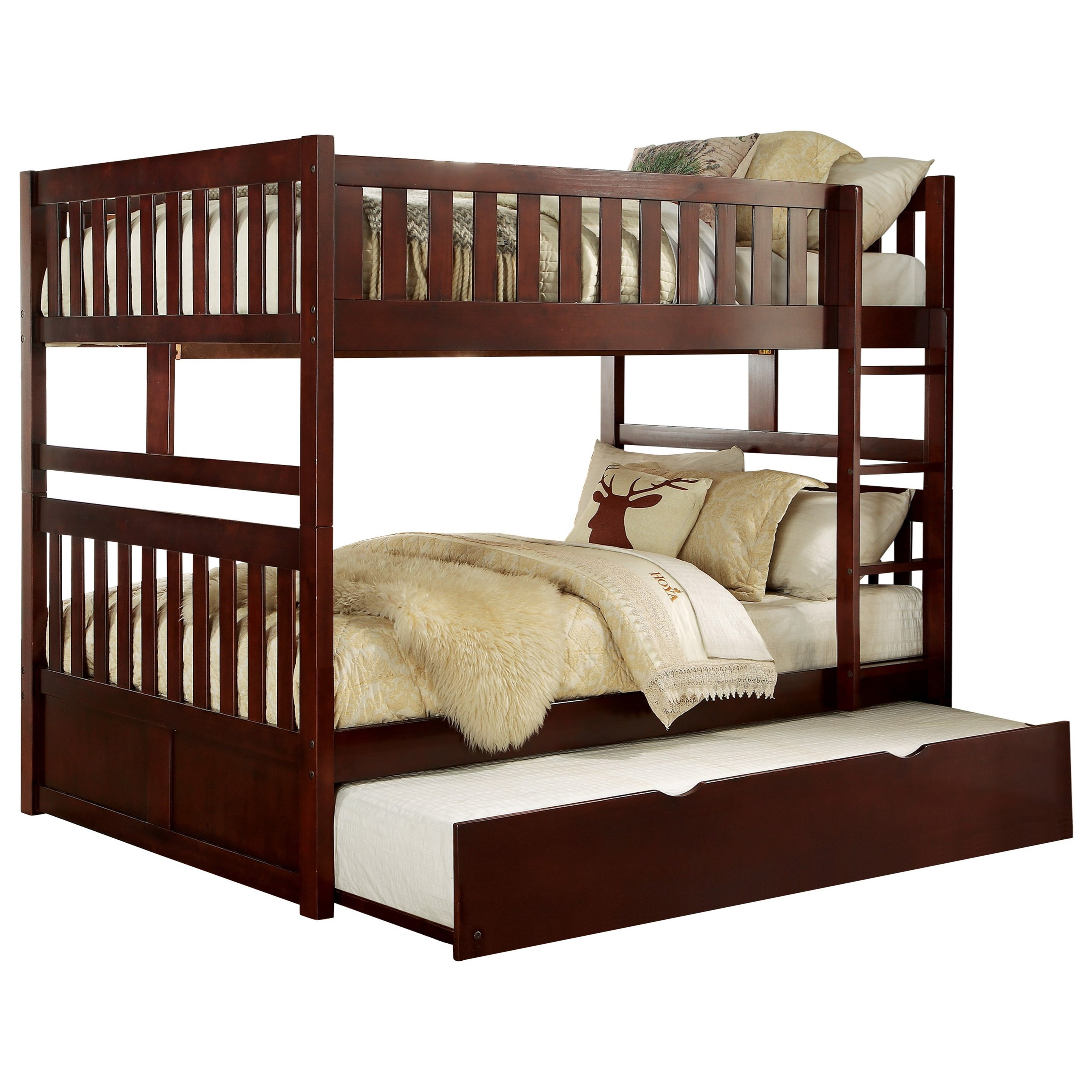 Cherry Full Over Full Trundle Bunk Bed by Home Style at Walker's Furniture