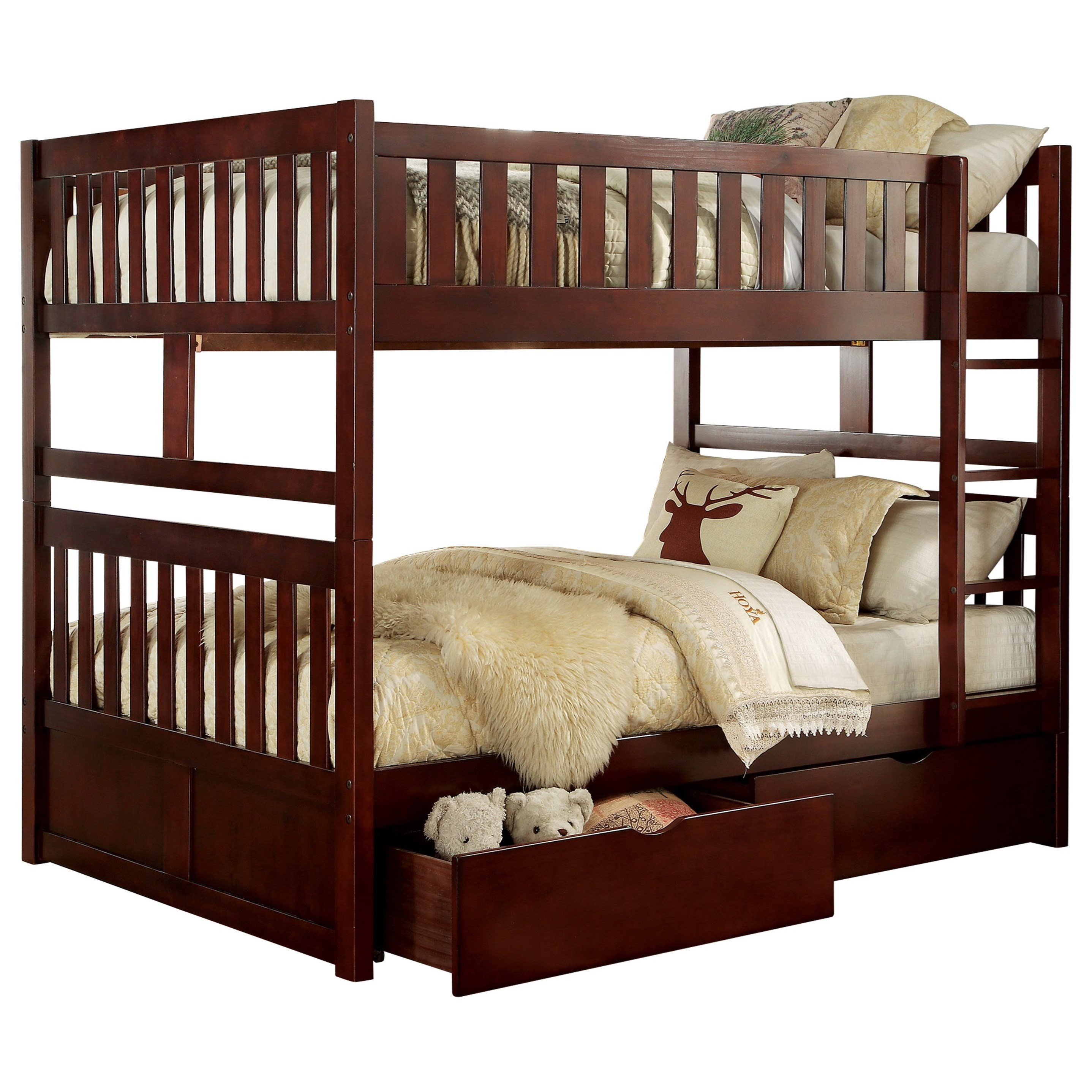 Cherry Full Over Full Storage Bunk Bed by Home Style at Walker's Furniture