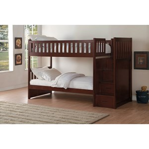 Homelegance Rowe Twin Over Twin Storage Bunk Bed
